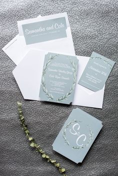 Durham wedding photos at The Cookery by Mikkel Paige Photography in North Carolina. The bride and groom had a winter wedding invitation to match their blue and green color palette.