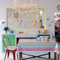"""Fun kitschen, style """"Petit Pan"""" - cadre jaune ou turquoise pour fenetre cuisine"""