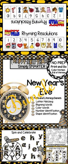 Are you looking for NO PREP literacy and math games for preschool, kindergarten, or first grade? Then download this bundle and go!  Enjoy this phonics and math resource which is comprised of FIVE different NEW YEAR'S EVE themed games complete with a color version and black and white version of each game.  The games can be used for small group work, partner collaboration, or homework! Literacy Games, Kindergarten Math Activities, Preschool Kindergarten, Teaching Resources, Teaching Ideas, Teaching First Grade, Teaching Math, New Years Eve Games, Educational Board Games