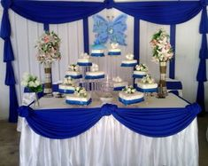 Resultado de imagen para decoracion para boda dorado con azul