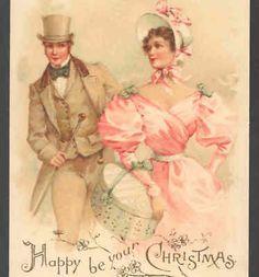 RARE.. EARLY CIVIL WAR STYLE CHRISTMAS ROMANCE,SOUTHERN BELLE,HATBOX, POSTCARD
