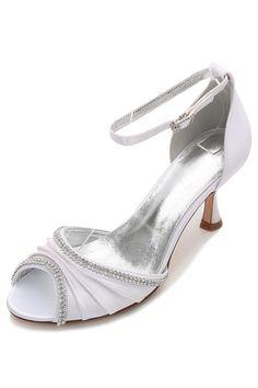 aad2e58886f Sandale blanche à talon bout ouvert drapé avec strass pour soirée mariage