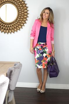 Lilly Style - Blazer, floral skirt, smart