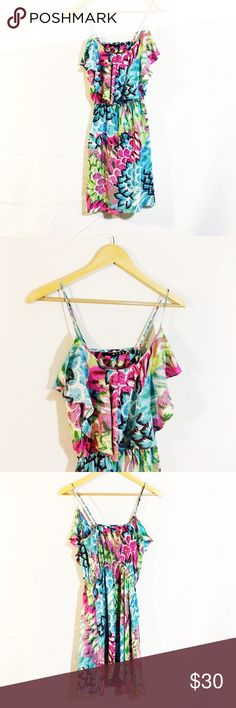 Silk ruffle floral plumage feather sun dress Amazing gorgeous dress. Idk what the brand is but it's silk. Small tear on right side, NOT noticeable, see last pic. Dresses