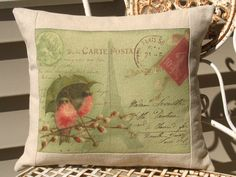 French Carte Postale Bird Pillow Decorative by sherrisboutique, $23.00