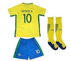 fa61aa1c7 BRAZIL NEYMAR JR #11 Home Football Soccer Kids Jersey Short Socks Set Youth  Sizes