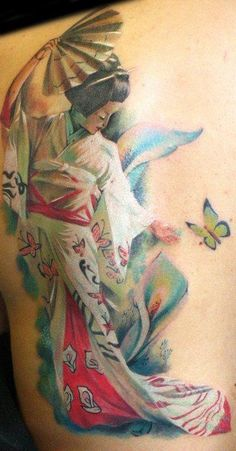 half back watercolor tattoo of Japanese woman - fan, butterfly, flower, kimono