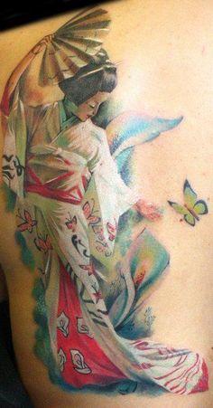 half back watercolor tattoo of Japanese woman  - fan, butterfly, flower, kimono