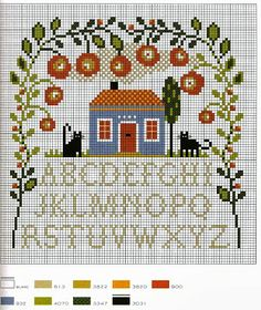 Schemi a punto croce gratuiti per tutti: Raccolta di schemi facili a punto croce - case e giardini.  Lots of house patterns.