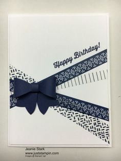 Stampin' Up! Birthday card using washi tape and Bow Builder Punch. Birthday Card with Washi Tape and Bow Builder Punch. Handmade Birthday Cards, Happy Birthday Cards, Greeting Cards Handmade, Diy Washi Tape Birthday Cards, Diy Washi Tape Cards, Simple Handmade Cards, Female Birthday Cards, Diy Birthday, Simple Diy