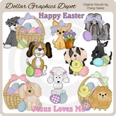 Pretty Easter Baskets 1 - Clip Art - $1.00 : Dollar Graphics Depot ...