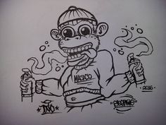 """Macaco""  Character by @sogtwo  #graff #graffiti #indonesiagraffiti #baligraffiti #instagraffiti #sketch #art #artwork #streetart #sogtwo #sog2 #tnocrews #new #character #monkey #macaco by tnocrews"