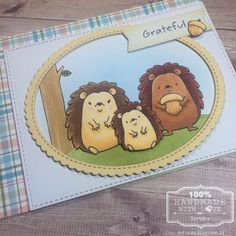 MFT Happy Hedgehogs Grateful card with Copic Coloring and Dienamics