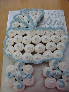 Cupcake Baby Buggy regular size cupcakes shaped like a babybuggy.