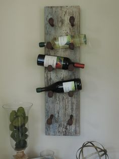 Reclaimed Wood And Railroad Spike, Wall-mounted Wine Rack