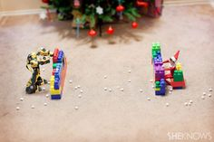 Too cute -- a snowball fight!  Not sure if we have any of those crazy transformer robots tho...