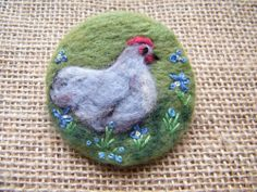 Unique Hand Made Needle Felted Brooch - 'Sweet Pea' by Tracey Dunn broody mother orpington sweet chicken design