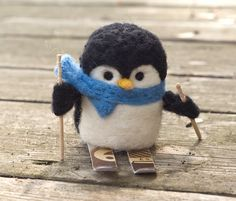 Needle Felted Penguin Skiing by scratchcraft on Etsy