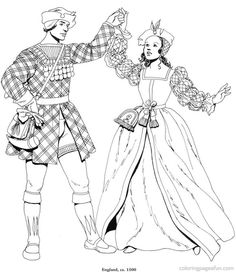 Renaissance Costumes And Clothing Coloring Pages 21