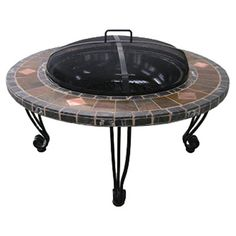Outdoor Fire Pit with Slate Mantel