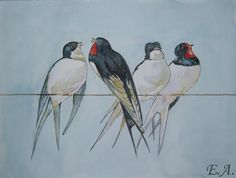 Schwalben 32 x 24 cm Original Aquarell Tiere, Vögel | eBay