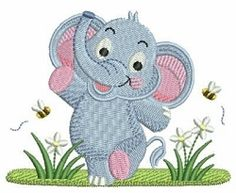 Baby Elephant 10 - 4x4   What's New   Machine Embroidery Designs   SWAKembroidery.com Ace Points Embroidery
