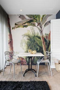 Boutique Hotel | Banana wallpaper | Gold | Kartell | Masters chair | Marble | Dining | Interior design | Etienne Hanekom Interiors