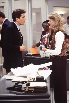 """JFK Jr Playing Himself Surprised Candice Bergen's Character Murphy Brown When He Arrives At The """"FYI"""" Newsroom On The 8th Season Premiere Of """"Murphy Brown"""""""