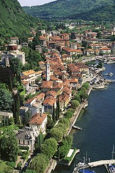 Aerial view of Laveno on Lake Maggiore Province of Varese Lombardy Region Italy