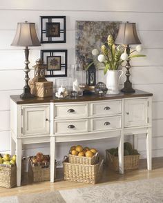NEW WHITE BROWN TRADITIOINAL SERVER DINING ROOM VINTAGE BUFFET SIDEBOARD COUNTRY