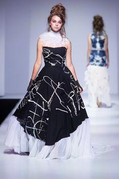Black Grafitti gown / avant garde wedding dress by BraveNouvelle