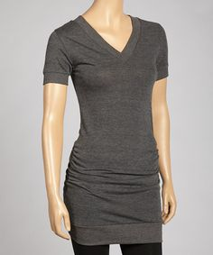 Take a look at this Charcoal Ruched V-Neck Top by Zenana on #zulily today! @Jennifer Duncan Black  cute :)