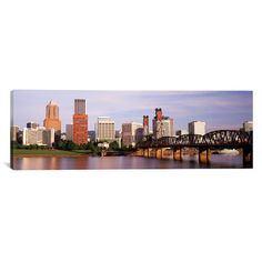 "East Urban Home Panoramic Portland, Oregon Photographic Print on Canvas Size: 16"" H x 48"" W x 1.5"" D"
