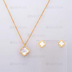 collar y aretes de trebol de dorado en acero-SSNEG804093