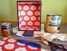 paint or modge podge inside of shelves