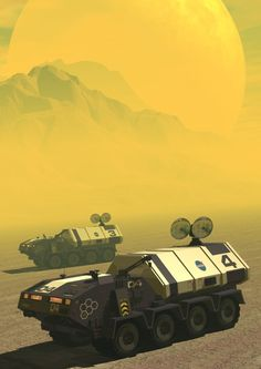 Yellow planet. With trucks.