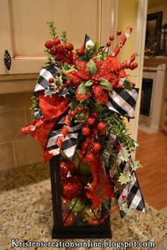 Love this Christmas lantern with black and white check ribbon from Kristen's Creations: Share Your Creations Party #62