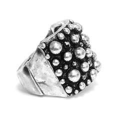 Burnished Silver Metal Stretch Ring