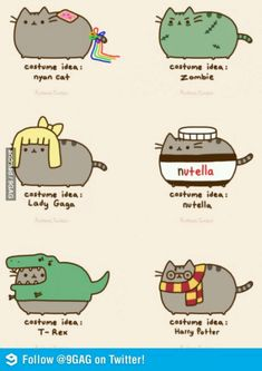 Cat costume ideas from Pusheen! Gato Pusheen, Pusheen Love, Chat Kawaii, Kawaii Cat, Kawaii Drawings, Cute Drawings, Pusheen Stormy, Kawaii Potato, Grumpy Cat