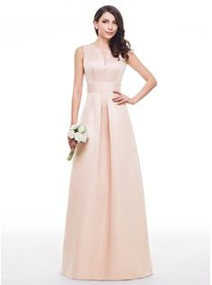 A-Line/Princess V-neck Floor-Length Satin Bridesmaid Dress With Ruffle (007060599) - JJsHouse