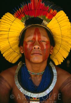 Kayapo Indian Man- Xingu - Brasil wearing a magnificent headdress of parrot feathers We Are The World, People Around The World, Amazon People, Xingu, Tribal People, Photography For Sale, Art Photography, Indigenous Art, World Cultures