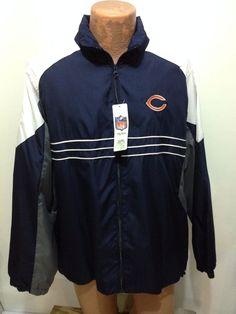 Chicago Bears Mens L Football NFL Reebok Blue Gray White Windbreaker Jacket NEW #Reebok #ChicagoBears
