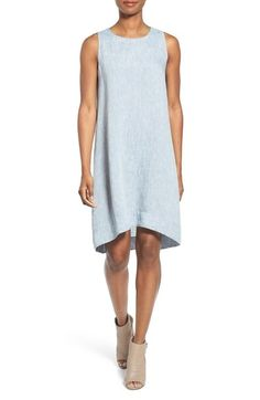 Eileen Fisher High/Low Linen Chambray Shift Dress (Regular & Petite) available at #Nordstrom