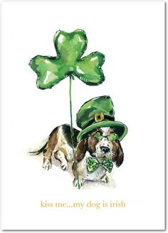 Irish Hound - St Patricks Day Cards in Green Apple | Lana Frankel