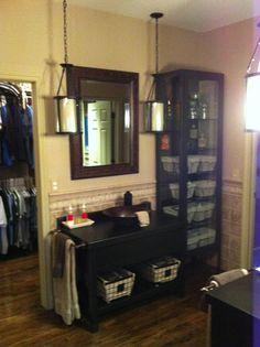 master bath reno, 2nd vanity, vintage inspire basket for storage in cabinets and under vanity