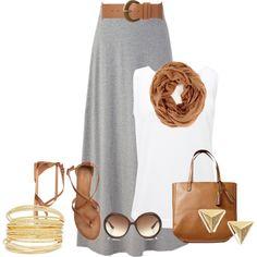 Grey maxi skirt, white top (sleeves), camel belt, camel sandals, camel scarf