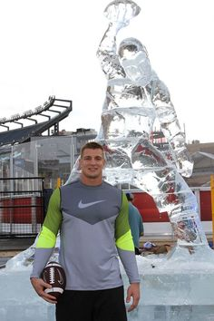 Gronk + a life-size Gronk ice sculpture outside Gillette Stadium earlier this week as part of Nike's #GetOutHere campaign.