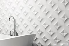 WOW Collection 124x124  #tile #tiles #sangahtile #interior #design #wow #modern#unique #white #bathroom #artwall #wall #pattern #flower #타일 #상아타일 #인테리어 #디자인 #벽타일 #화이트 #아트월 #데코 #거실 #욕실 #욕조