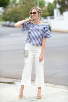 Dipped in Gingham - Cupcakes & Cashmere Gingham Shirt Outfit, Gingham Pants, Crop Top Outfits, Basic Outfits, Casual Outfits, Indian Fashion Dresses, Asian Fashion, Western Dresses For Girl, Fashion Pants