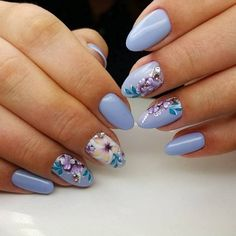 pastel blue nails with flowers #nail #art #spring